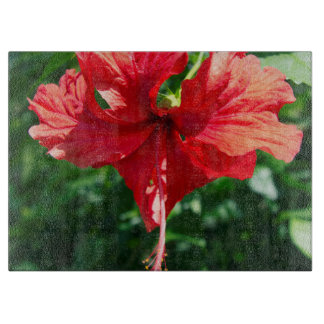 Red Hibiscus Flower Cutting Board