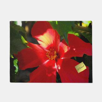 Red Hibiscus Flower in Sunlight Doormat