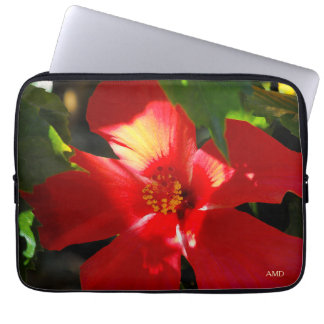 Red Hibiscus Flower in Sunlight Laptop Sleeve