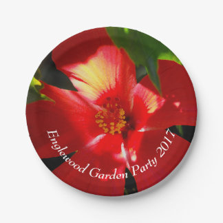 Red Hibiscus Flower in Sunlight Paper Plate