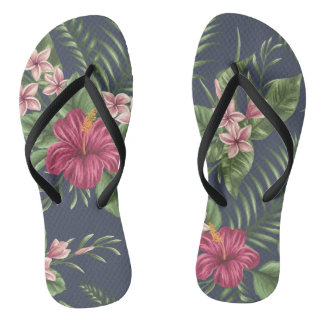 Red Hibiscus Flower Leaves Dark Background Flip F Flip Flops