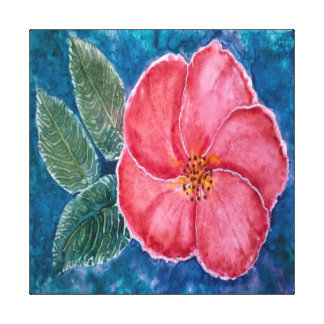 Red Hibiscus Flower Painting Canvas Print