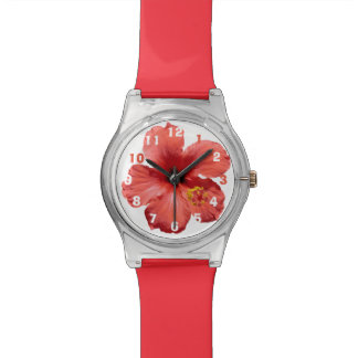 Red Hibiscus Flower Photo Edit Numbers Watch