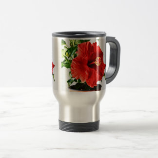 Red Hibiscus Flower Travel Mug