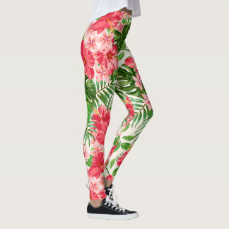 Red Hibiscus Flower White Background leggings