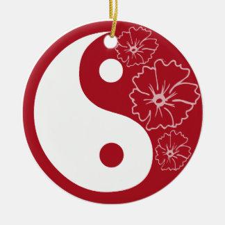 Red Hibiscus Flower Yin Yang Ceramic Ornament
