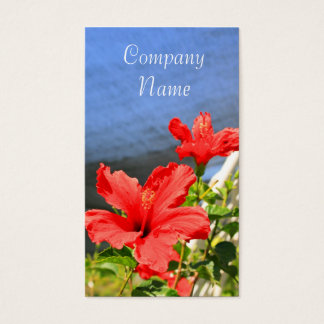Red Hibiscus Flowers Business Cards