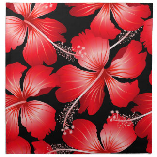 Red hibiscus flowers napkin
