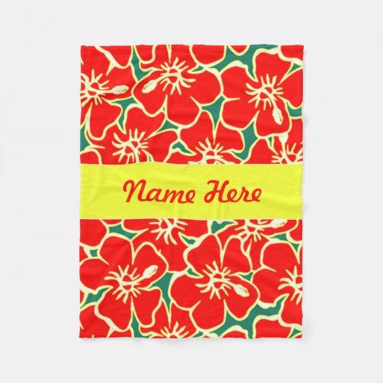 Red Hibiscus Flowers Tropical Hawaiian Decor Fleece Blanket