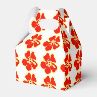Red Hibiscus Flowers Tropical Hawaiian Luau Favor Box