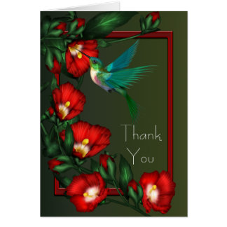 Red Hibiscus Green Hummingbird Thank You Cards