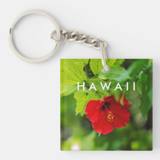 Red Hibiscus Hawaii Tropical Flower Double-Sided Square Acrylic Keychain