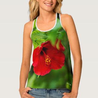 Red Hibiscus Hawaii Tropical Flower Tank Top