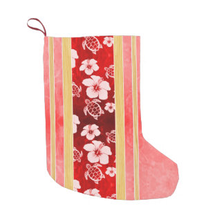 Red Hibiscus Honu Stripes Small Christmas Stocking
