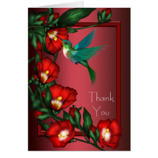 Red Hibiscus Hummingbird Thank You Cards