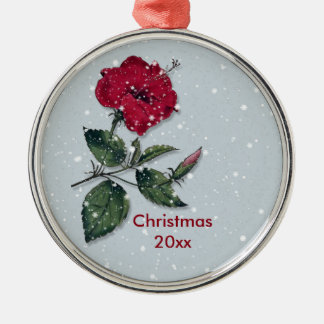 Red Hibiscus in Snow Christmas Metal Ornament
