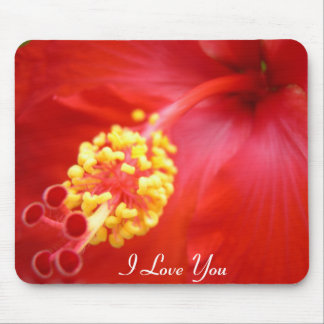 Red Hibiscus Mousepad - Your Text!