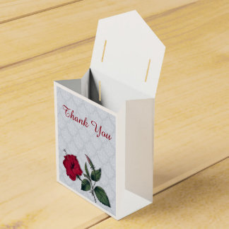 Red Hibiscus on lacy background Favor Box