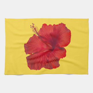 Red Hibiscus on Lemon Zest Yellow Template Kitchen Towel
