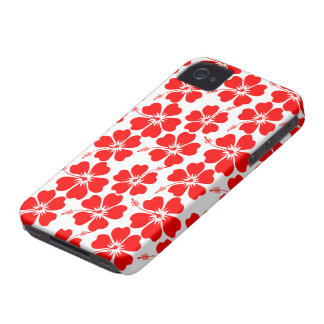 Red Hibiscus on White Case-Mate iPhone 4 Case