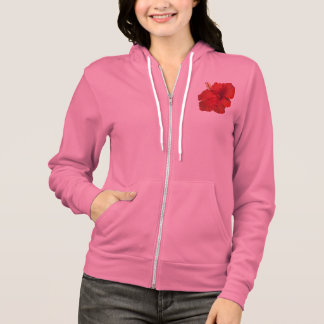 Red Hibiscus on White - Customized Template Hoodie