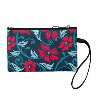 Red hibiscus printed embroidery coin purse