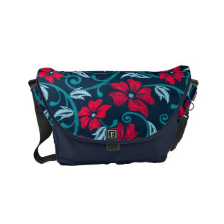 Red hibiscus printed embroidery messenger bags