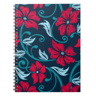 Red hibiscus printed embroidery notebooks