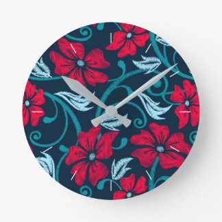 Red hibiscus printed embroidery round clock