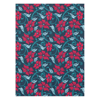 Red hibiscus printed embroidery tablecloth