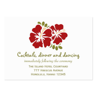 Red Hibiscus Reception Enclosure Cards Large Business Card
