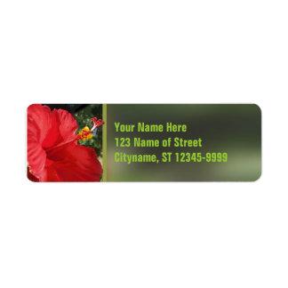 Red Hibiscus Return Address Label