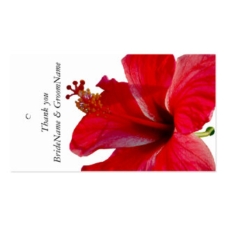 Red Hibiscus  Thank you Gift Tag Business Cards