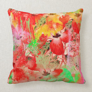 """Red Hibiscus Throw Pillow 20"""" x 20"""""""