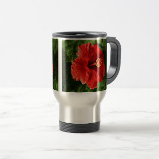 Red Hibiscus Travel Mug