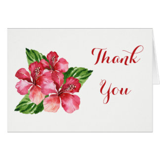 Red Hibiscus Tropical Thank You Card