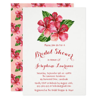 Red Hibiscus Watercolor Bridal Shower Invitations
