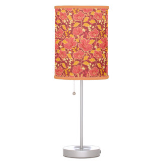 Red Hibiscus With Butterflies Lamp