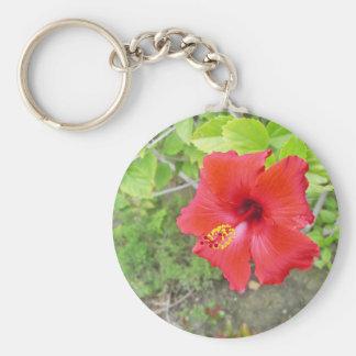 Red Hibiscus Yellow stigma Basic Round Button Keychain