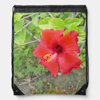 Red Hibiscus Yellow stigma Drawstring Bag