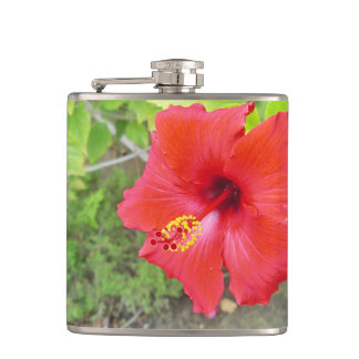 Red Hibiscus Yellow stigma Hip Flask