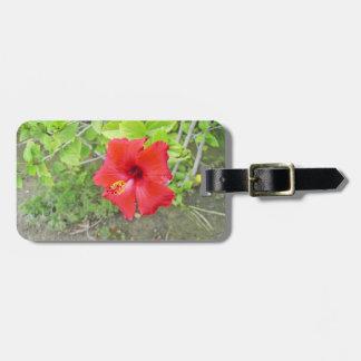 Red Hibiscus Yellow stigma Luggage Tag