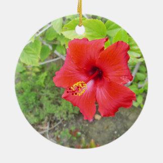 Red Hibiscus Yellow stigma Round Ceramic Ornament