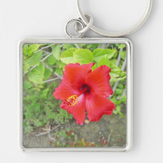 Red Hibiscus Yellow stigma Silver-Colored Square Keychain
