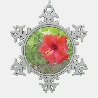 Red Hibiscus Yellow stigma Snowflake Pewter Christmas Ornament