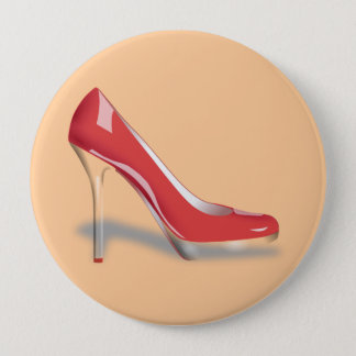 RED HIGH HEEL SHOE Round Button