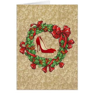 Red High Heel Shoes / Christmas Wreath Card