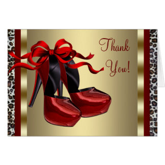Red High Heel Shoes Gold Leopard Thank You Cards