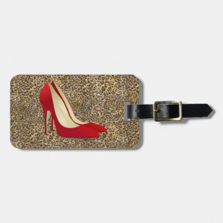 red high heel shoes luggage tag