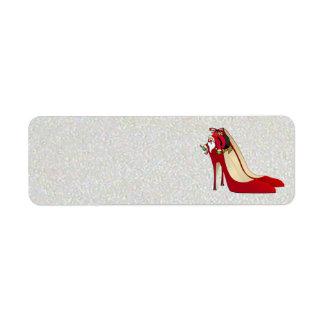 Red High Heel Shoes / Santa Elf / Label